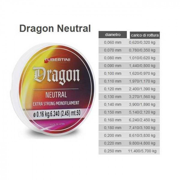 Леска Tubertini Dragon Neutral 50m 0,14/3.9 кг  0