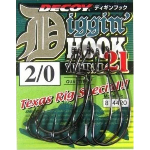 Крючок спиннинговый Decoy Worm21 Digging Hook 3/0, 6 шт/уп